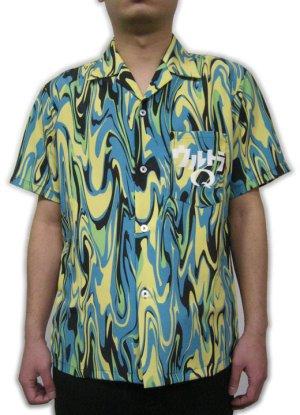 画像3: ウルトラQ オープニング アロハシャツ マーブル模様 生地 服 ウエアー