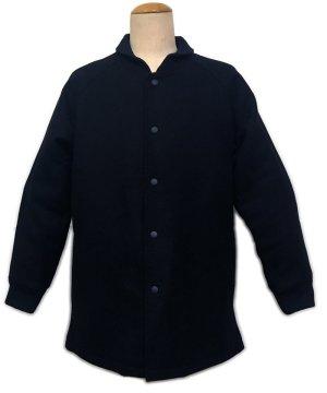 画像1: ファラオ コート ウール メルトン 黒 無地 日本製 3L迄