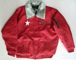 画像1: 赤 ドカジャン パイロット ジャンパー 星 刺繍 入り ワンスター