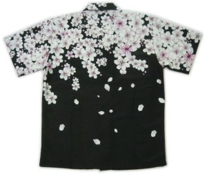 画像2: 和柄 アロハ 桜 吹雪 チリメン風 大きいサイズ 桜イラスト 生地