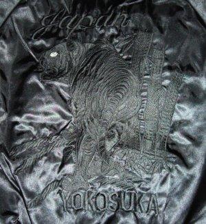 画像3: 黒無地スカジャン 虎刺繍