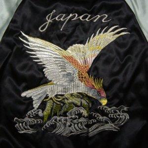画像4: スカジャン 鷹 と波 刺繍 赤