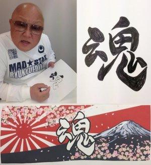 画像2: 岩橋健一郎氏書「魂」タオル 日章 富士