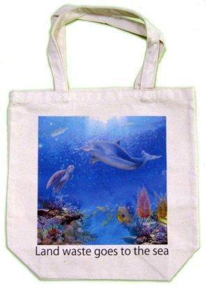 画像1: プラゴミトートバッグ Turtle dolphin アオウミガメ ホヌ Honu