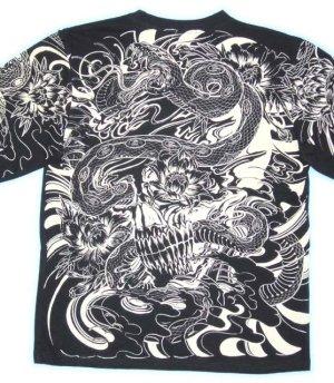 画像1: 蛇スカル 和柄 長袖Tシャツ 刺青デザインの紅雀(名入れ刺繍可)通販