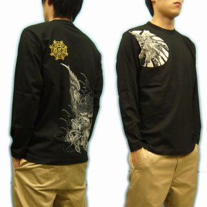 画像3: 鳳凰 刺青 胸割右 背中鳳凰 紅雀ブランド 通販 名入れ刺繍可 (和彫り)  和柄 長袖tシャツ ロンT 和柄服