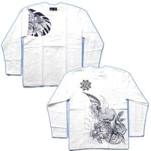 画像5: 鳳凰 刺青 胸割右 背中鳳凰 紅雀ブランド 通販 名入れ刺繍可 (和彫り)  和柄 長袖tシャツ ロンT 和柄服