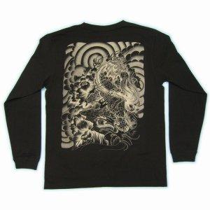 画像3: 唐獅子牡丹 和柄 長袖Tシャツ 刺青デザインの紅雀(名入れ刺繍可)通販 和柄服