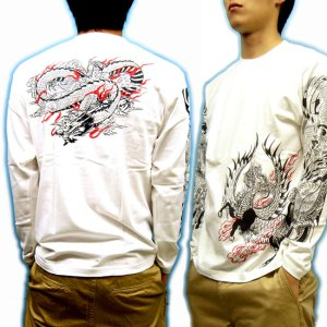 画像3: 麒麟 雲龍 長袖Tシャツ 和柄 ブランド紅雀 ネーム刺繍可 刺青Tシャツ 和彫 デザイン 通販 ロンT 和柄服