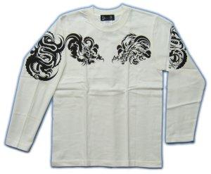 画像4: 龍トライバル 和柄 長袖Tシャツ 刺青デザインの紅雀(名入れ刺繍可)通販