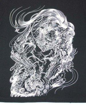 画像3: 唐獅子 と鬼 和柄 長袖Tシャツ 刺青デザインの紅雀(名入れ刺繍可)通販 和柄服