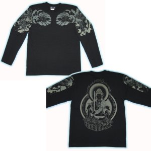 画像4: 虚空蔵菩薩 刺青風 仏像画 和柄長袖Tシャツ 「紅雀」 通販 名入れ刺繍可 胸割和彫り 蓮デザイン 和柄服