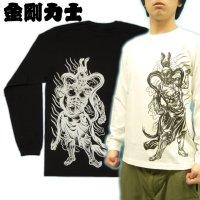 金剛力士像 和柄 長袖Tシャツ 刺青デザインの紅雀(名入れ刺繍可)通販 和柄服