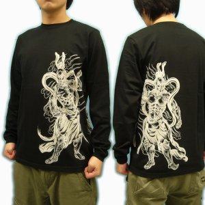 画像2: 金剛力士像 和柄 長袖Tシャツ 刺青デザインの紅雀(名入れ刺繍可)通販 和柄服