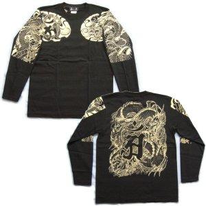 画像4: 龍 辰 梵字 の胸割 刺青 長袖tシャツ 紅雀 和彫り デザイン 和柄Tシャツ 通販 名入れ刺繍対応 和柄服