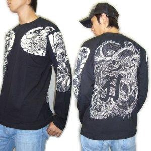 画像2: 龍 辰 梵字 の胸割 刺青 長袖tシャツ 紅雀 和彫り デザイン 和柄Tシャツ 通販 名入れ刺繍対応 和柄服