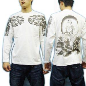 画像3: 文殊菩薩 獅子 の仏像画 和柄 長袖Tシャツ [紅雀 通販] 名入れ刺繍対応 刺青 和彫り 胸割 和柄服