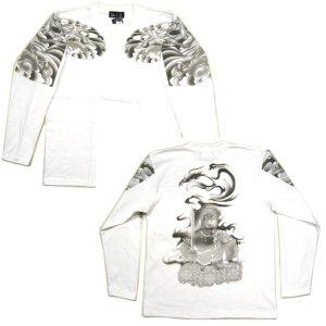 画像5: 不動明王 鳳凰 刺青 の仏像画 和柄 長袖Tシャツ 紅雀の通販 名入れ刺繍可 (五大明王) 和柄服