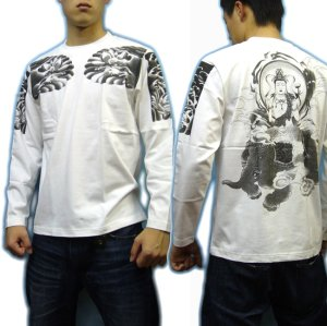 画像3: 六牙の象に乗る 普賢菩薩 の仏画 和柄 長袖Tシャツ 紅雀通販 (名前刺繍) 釈迦如来の脇侍 和柄服