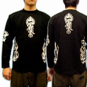 画像4: 不動三尊 梵字 長袖Tシャツ 刺青 デザイン Tシャツの袖にデザイン 通販 梵字タトゥー (名入れ刺繍可) 和柄服