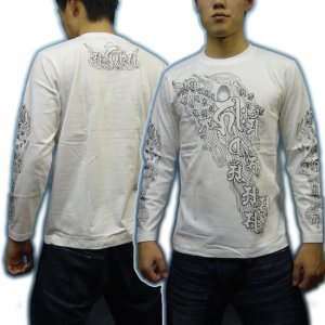 画像5: 阿弥陀来迎 梵字 長袖Tシャツ 刺青 デザイン Tシャツの袖にデザイン (名入れ刺繍可)通販 梵字タトゥー