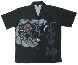 画像1: 風神 雷神 アロハシャツ 和柄アロハ 大きいサイズ 3L 4L 5L 受注生産