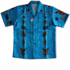 画像1: 半袖 オープンシャツ タトゥー S M L LL 3L 4L 5L