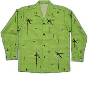 画像1: 長袖オープンシャツ スターバースト S M L LL 3L 4L 5L