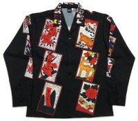 長袖オープンシャツ 花札 長袖アロハ S M L LL 3L 4L 5L 受注生産 ギャンブルシャツ
