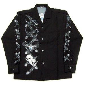 画像1: 長袖オープンシャツ イーグル 長袖アロハ S M L LL 3L 4L 5L 受注生産
