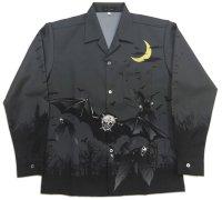 長袖オープンシャツ Moon Bat 蝙蝠 月 長袖アロハ S M L LL 3L 4L 5L 受注生産