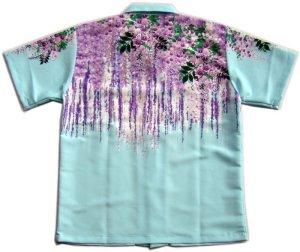 画像2: 和柄 アロハ 藤の花 チリメン風 大きいサイズ 花イラスト 生地