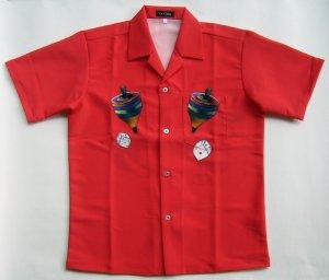画像1: ウサギ アロハシャツ 赤  駒 サイコロ キノコ ラビット 大きいサイズ 3L 4L 5L