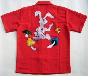画像2: ウサギ アロハシャツ 赤  駒 サイコロ キノコ ラビット 大きいサイズ 3L 4L 5L