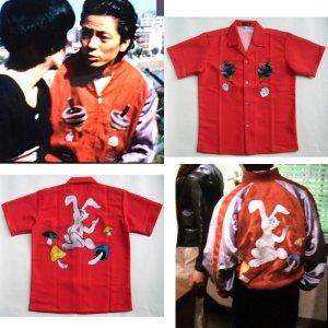 画像3: ウサギ アロハシャツ 赤  駒 サイコロ キノコ ラビット 大きいサイズ 3L 4L 5L