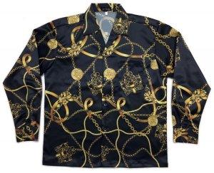 画像1: ラグジュアリー スカーフ柄 長袖シャツ 大きいサイズ 3L 4L 5L