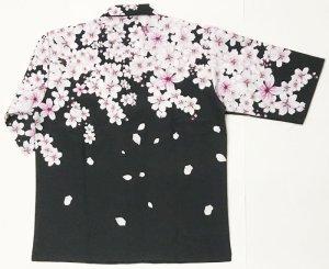 画像2: 桜吹雪 7分袖アロハシャツ メンズ 大きいサイズ 和柄 ブランド 紅雀