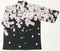 桜吹雪 7分袖アロハシャツ メンズ 大きいサイズ 和柄 ブランド 紅雀