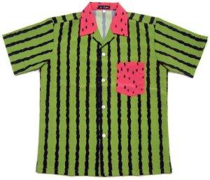 画像1: スイカ アロハシャツ スイカ柄 生地 西瓜