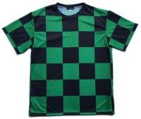 緑黒市松 受注生産 ポリエステルドライTシャツ 日本製 コスチューム