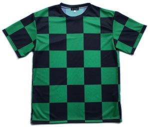 画像1: 緑黒市松 受注生産 ポリエステルドライTシャツ 日本製 コスチューム