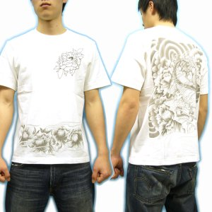 画像3: 唐獅子牡丹和柄Tシャツ通販