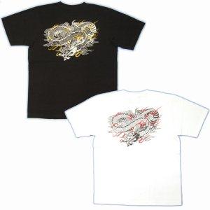 画像5: 麒麟と雲龍の和柄Tシャツ通販