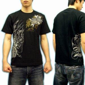 画像2: 鳳凰と牡丹の刺青デザインTシャツ通販