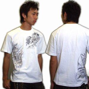 画像3: 鳳凰と牡丹の刺青デザインTシャツ通販