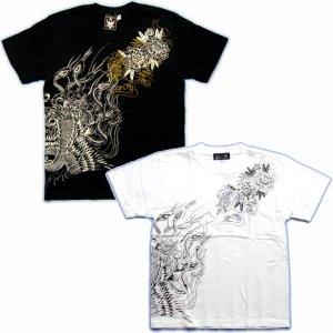 画像4: 鳳凰と牡丹の刺青デザインTシャツ通販