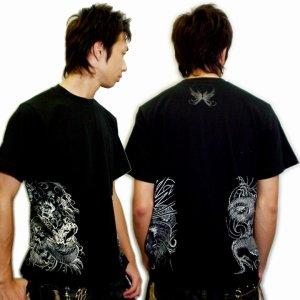 画像2: 風神雷神騎龍 和柄 Tシャツ 紅雀 通販 名入れ刺繍可 刺青 和彫り デザイン