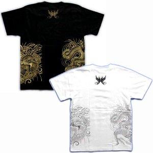 画像5: 風神雷神騎龍 和柄 Tシャツ 紅雀 通販 名入れ刺繍可 刺青 和彫り デザイン