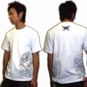 画像3: 風神雷神騎龍 和柄 Tシャツ 紅雀 通販 名入れ刺繍可 刺青 和彫り デザイン