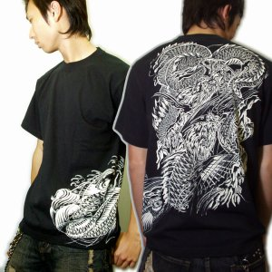 画像4: 鯉の瀧登り登龍門和柄 tシャツ通販